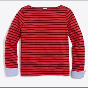 J. Crew Cuffed Striped Boatneck Shirt